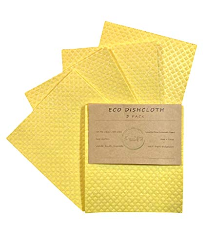 Swedish Dishcloths Pack of 5 + 1 Eco gift | Eco Friendly Reusable Sustainable Biodegradable Cellulose Sponge Cloths for Kitchen Dish Rags Paper Towel Replacement (Yellow)