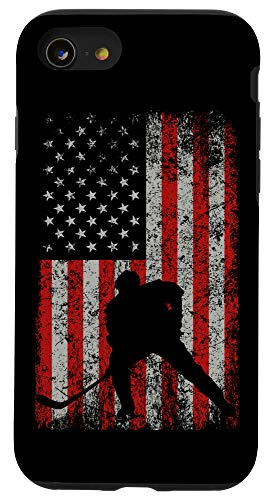 iPhone SE (2020) / 7 / 8 Patriotic AMERICAN FLAG Ice Hockey Gift Hockey Player Fan Case