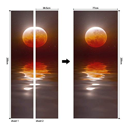 PYUK 3d landschap deur sticker maan nacht landschap stickers op de deuren muur muurstickers Zelf Lijm waterdicht behang