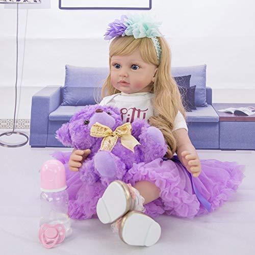 24 Pollice 60cm Bambole Reborn Femmine in Silicone Morbido Realistico Occhi Aperti Neonato Bambino Bambola Capelli Lungo Baby i Regali per Bambini (946b)