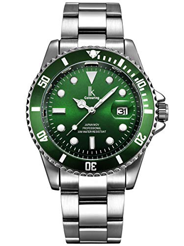 Alienwork Herren Damen Armbanduhr Quarz Silber mit Edelstahl Metallarmband Kalender Datum grün elegant