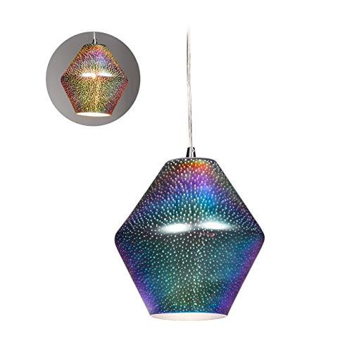Relaxdays Hängelampe, Lichtspiel an den Wänden, holografisch, dekorative Pendelleuchte, runde Lampe HxD 24x24 cm, silber
