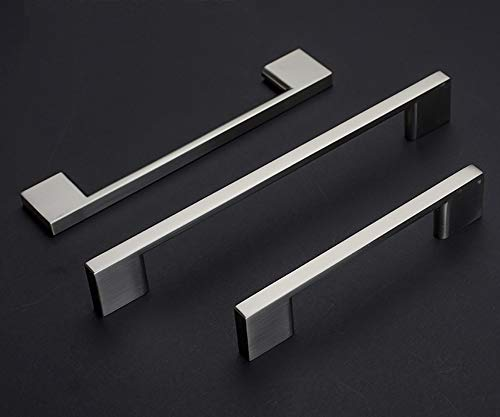ANSIEDIO 96mm Brushed Nickel Cupboard Handles Square Wardrobe Handles Zinc Alloy Handles for Cupboards & Draws (1 Pack)