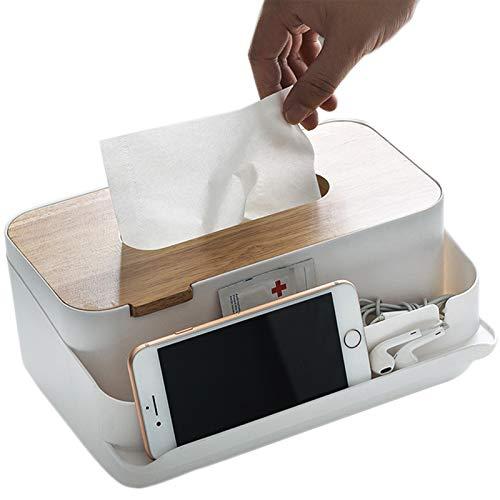 GCBTECH Boite Mouchoirs Rectangulaire Multifonction Organisateur de Bureau Distributeur Mouchoirs en Bois Téléphone Tablette Télécommande, Blanc