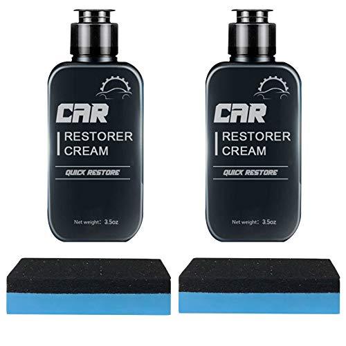 Car Restorer Cream Quick Restore?Auto Leather&Plastic Refurbishment Paste?100ML Refurbishment Repair Agent Dashboard Cleaner Renovated Coating Liquid with Sponge (2 Sets)