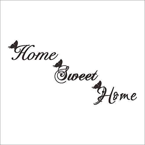 Wandaufkleber, Home Sweet Home Wandaufkleber Schmetterling Englisch Für Wohnaccessoires Wandkunst Aufkleber Fensterschrank Tapete Türaufkleber 60Cm * 30Cm