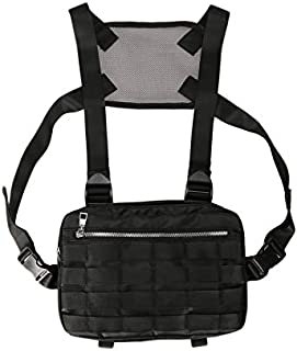 TOOGOO Chest Rig Bags Adjustable Pocket Hip Hop Streetwear Functional Breast Bag Cross Shoulder Bag Black