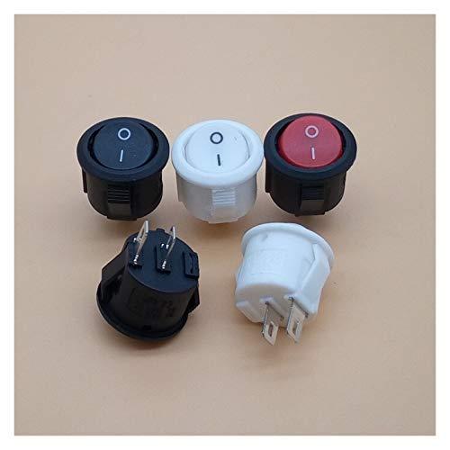 YSJSPKK Interruptor basculante Botón 10 Piezas Negro/Rojo/Blanco de Encendido/Apagado Ronda de balancín de CA 10A / 125V 6A / 250V (Color : 4)