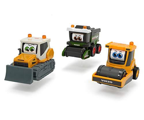 Dickie Toys 203812002 Happy Rolling Eyes, Fahrzeug mit beweglichen Augen für Kleinkinder, Fendt Mähdrescher, Volvo Walze, Liebherr Bulldozer, 3 versch. Modelle, 16cm