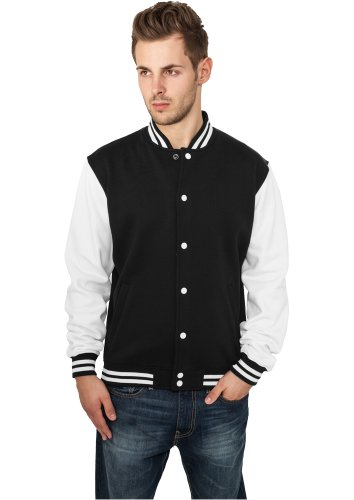 Urban Classics 2 Tone College Jacke | Herren College Sweatjacke in black-white in Größe: XL + original Bandana gratis