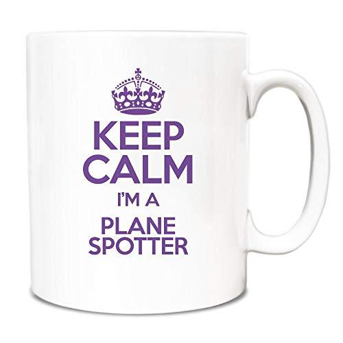 Thee Mok, Witte Keramische Mok Koffiemok Paars Houd Kalm Ik ben Een Vliegtuig Spotter 11 Ounces