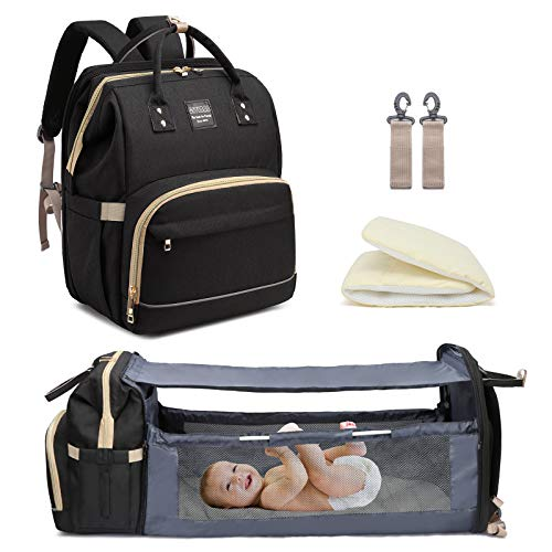 Baby Changing Bag Backpack with Travel Bassinet,Detachable Foldable Baby...