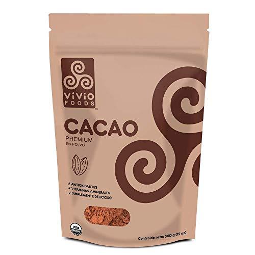 Vivio Foods Cacao Orgánico En Polvo, Cacao, 340 gramos