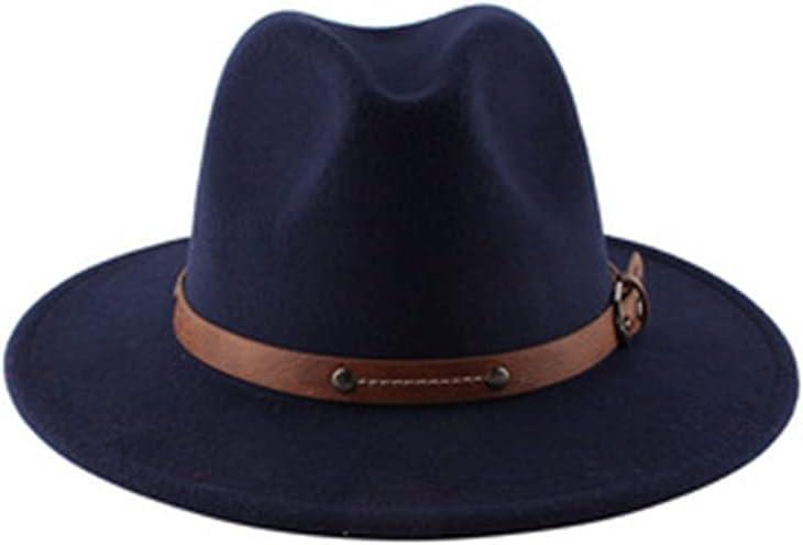 Pokem&Hent Flat Top Jazz Top Hat Men and Women Wide Brim Fedora Hat Retro British Wool Hat Felt Hat