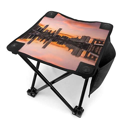 Nicokee Campingstuhl Klappstühle New York City Sunset Tragbarer Stuhl Sitz mit Tragetasche für Outdoor Angeln Sport Wandern Garten Picknick Strand BBQ