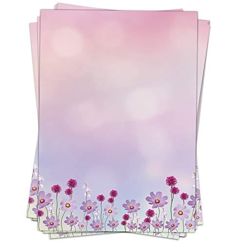 50 Blatt Briefpapier (A4)   Rosa Cosmea Blumen Romantik   Motivpapier   edles Design Papier   beidseitig bedruckt   Bastelpapier   90 g/m²