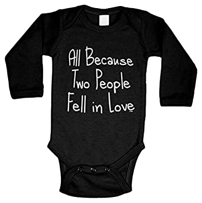 All Because Two People Fell in Love Long Sleeve Bodysuit (Black, Newborn)