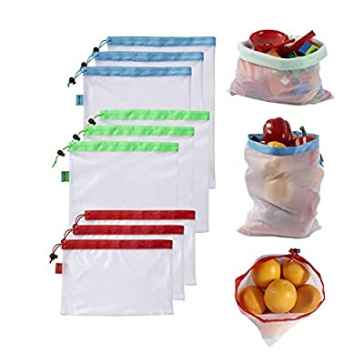 Reusable Produce Bags, 9 Pack Reusable-Produce-Grocery-Mesh-Bags Eco Friendly Produce Mesh Bags for Fruits Vegetable Shopping Storage