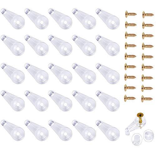 50 Pieces Glass Door Retainer Clips, Plastic Glass Panel Clips, Mirror Clips for Cabinet Door,Window Dressing Hardware(Include Screws)
