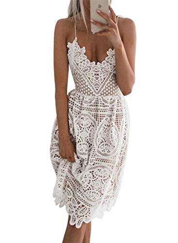 CORAFRITZ Vestido de tirantes de espagueti sin mangas con encaje floral sexy para mujer