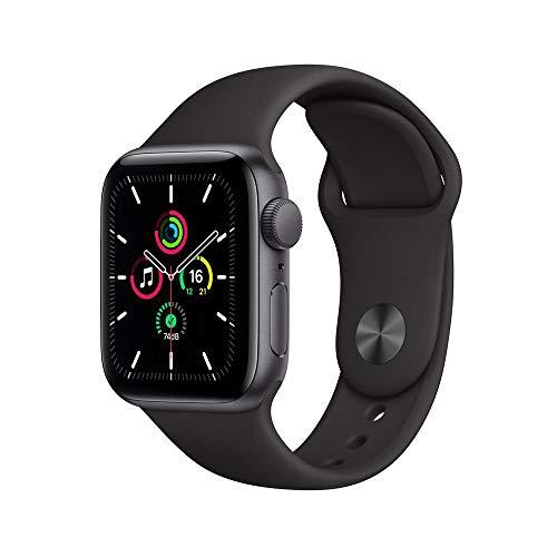 Apple Watch SE Cinza Espacial com Pulseira Esportiva Preta, 40 mm, Bluetooth e 32 GB - MYDP2BE/A