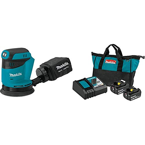 Makita XOB01Z 18-Volt LXT Lithium-Ion Cordless 5 Inch Random Orbit Sander with BL1840BDC2 18-Volt LXT Lithium-Ion Battery and Rapid Optimum Charger Starter Pack (4.0Ah)