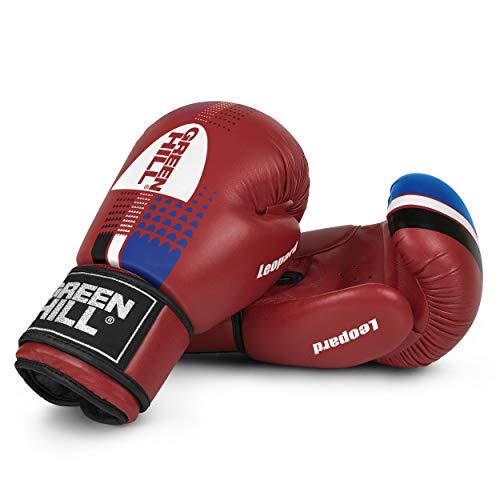 Green Hill Leopard Boxhandschuhe mit Antishock Unisex Erwachsene, Rot, 16 oz