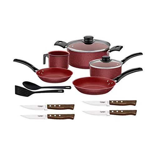 Bateria Cocina Roja Turim + Cuchillos Acero Inox Tramontina