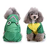 Zunea Small Dog Raincoat Waterproof with Hood Pet Mesh Lined Hooded Rainwear Funny Rabbit Frog Duck Shark Shape Four Legs Rain Suit Costume Puppy Jacket Jumpsuit with D Ring for Harness Leash Green L
