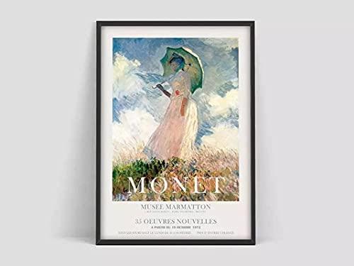 Cartel de arte 70x90cm cartel de Claude Monet sin marco, mujer con paraguas, cartel de exposición de arte, impresión de exposición, pintura de decoración del hogar