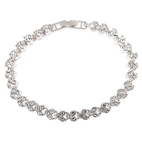 Qikafan Love Heart Rhinestone Bracelet Fashion Elegant Women Alloy Rhinestone Jewelry Bracelets Accessories Gifts for Women