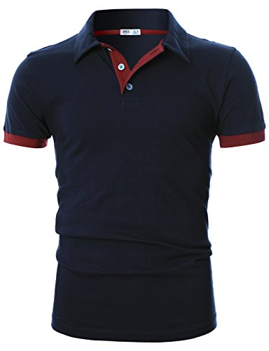 Ohoo Mens Slim Fit Short Sleeve Plain Polo Shirt In Pure Cotton/DCP021-NAVY-L