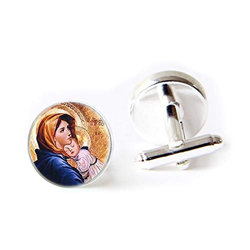 Jewelry Stainless Cufflinks Virgin Mary with Child Glass Art Print Mother of Baby Jesus Christ Christian Catholic Religious MadonnaClassic Tuxedo Shirt Cufflinks with Elegant Storage Display Box