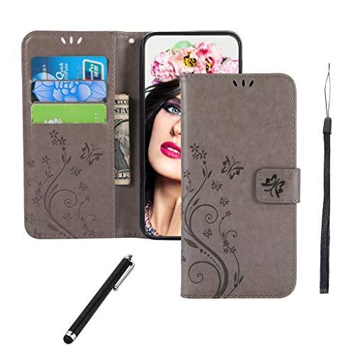 Huawei P20 Lite Hülle,Premium PU Leder Flip Brieftasche Schutzhülle [Standfunktion][Kartenfach][Magnetverschluss] Tasche Case Cover Etui Schutzhülle Klapphülle lederhülle für Huawei P20 Lite Graue