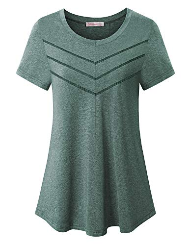 Gym Shirts for Women Funny,Girls Cute Beauty Activewear Yoga Camping Morning Jogging Outdoor Clothes Short Sleeve Performance Rapidry Wicking Tops Spring Leisure Wear Green Large