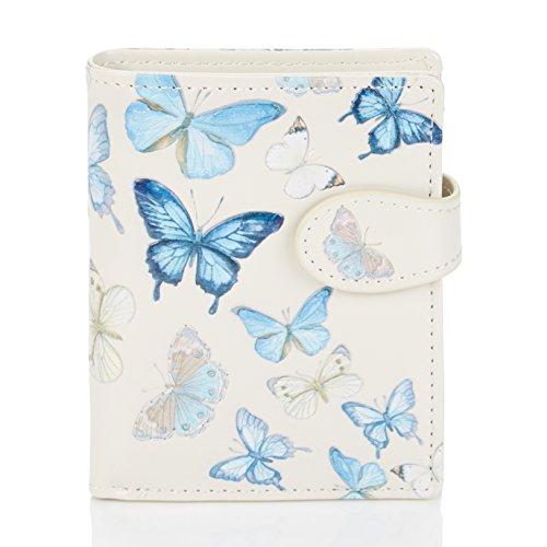 Shagwear ® Portemonnaie Geldbörse Damen Geldbeutel Mädchen Bifold Mehrfarbig Portmone Designs: (Schmetterling Beige/Butterflies)