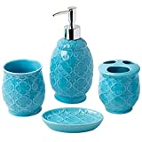 Bathroom Designer 4-Piece Ceramic Bath Accessory Set - Includes Liquid Soap or Lotion Dispenser w/ Toothbrush Holder, Tumbler, Soap Dish - Moroccan Trellis - Bath Accessories Set - Holds 15.6oz