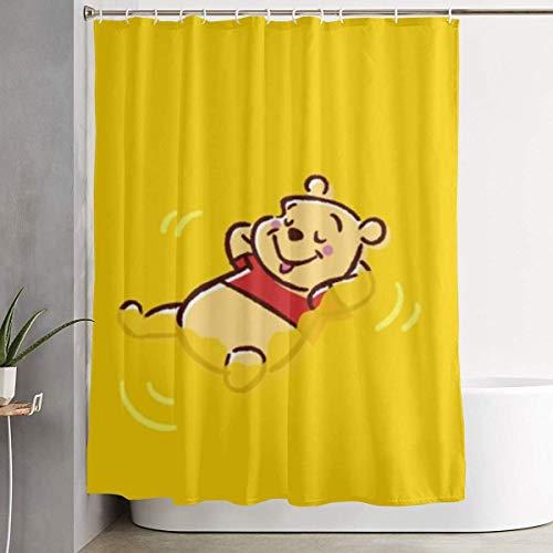 pingshang Lustiger Stoff-Duschvorhang Winnie The Pooh Wasserdichtes Badezimmer-Dekor mit Haken 60 x 72 Zoll