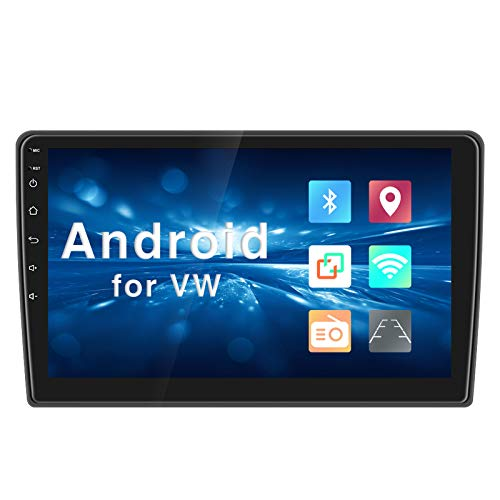 Android 9.0 Autoradio 2 Din per VW Schermo touchscreen capacitivo 10 pollici, lettore multimediale MP5 per auto con Navigazione GPS Bluetooth WIFI AM/FM/RDS Ricevitore USB + Telecamera posteriore