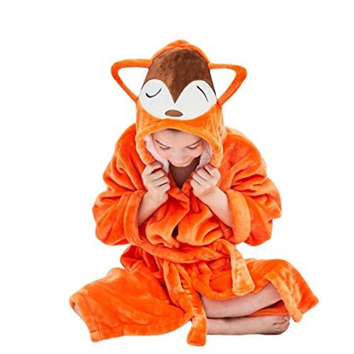 N-B Pijamas para niños y niñas Pijamas de Albornoz de Franela para niños Toalla con Capucha Albornoces de Dibujos Animados Pijamas de Invierno para niños Set Toallas de baño súper Suaves