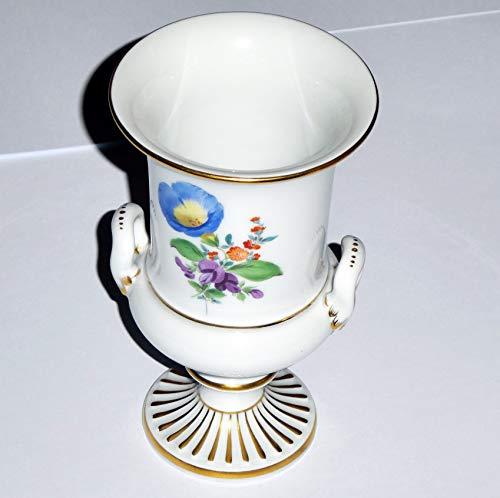 Meißner Porzellan Original Blumenvase - Trichterform mit Füssl Fuß - Vase Meissen - Blumen vorn und hinten - Höhe 13,70 cm - 5,39 Zoll - Durchmesser Ø 8,0 cm - 3,14 Zoll - 1. Wahl