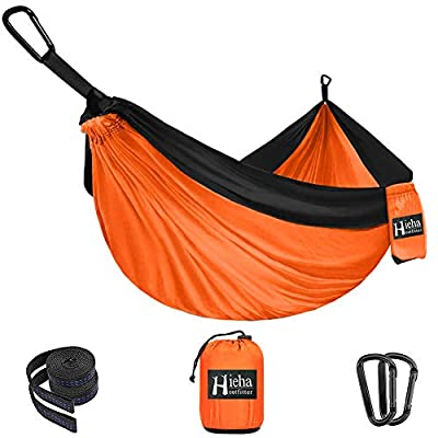 Hieha Camping Hammock - Single Parachute Hammock (2 Tree Straps & D-Shaped Carabiners 5+1 Loops/13ft Included) Lightweight Nylon Portable Hammock for Hiking, Travel, Backpacking, Beach, Yard Gear