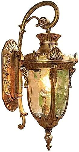 LSNLNN Lámparas de Pared, Lámparas de Pared Impermeables para Exteriores Simples, Creatividad Pared de Vidrio Lámpara de Pared para Jardín Color de Latón Cuerpo Metal Luminaria E27 Decoración de Pati