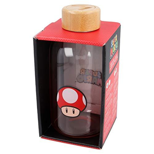 STOR Glasflasche klein 620 ml Super Mario, Schwarz, Medium