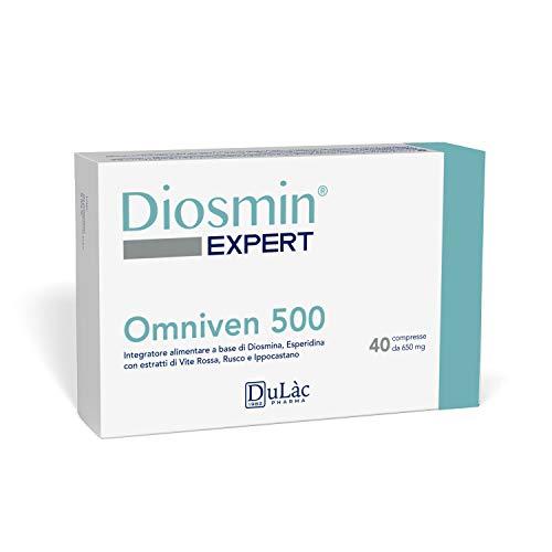 Integratore Circolazione Gambe ed Emorroidi Dulàc, 40 compresse per Emorroidi, Vene Varicose, Gambe Gonfie e Capillari Rotti Gambe - Diosmina Esperidina 500 mg, Vite Rossa e Flavonoidi - Omniven 500