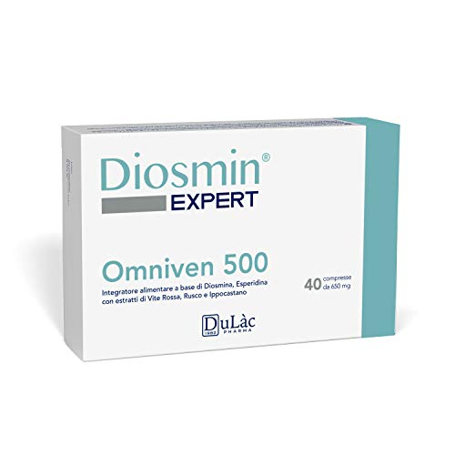 Dulàc Omniven 500 Diosmin 450mg, Hesperidin 50mg, Red Vine, Butcher's Broom, Horse Chestnut, 40 Tablets, Piles and Microcirculation, Diosmin Expert