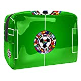 Bolsa de Maquillaje Bolsas de Aseo Organizador de cosméticos Bolsa con Cremallera para Mujer Campo de fútbol con Logo de Pelota
