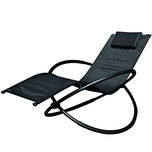 NXW Sun Lounger,Garden Chair,Rocking Chair with Headrest,Breathable Synthetic,Comfortable,Max.Load Capacity 180 Kg