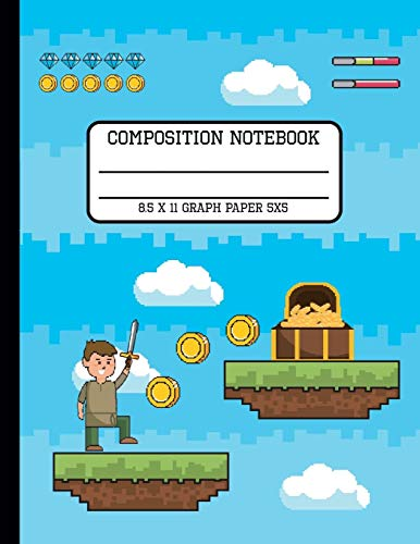 Composition Notebook Graph Paper 5x5: Video Game Trendy Pixel Back to School Quad Writing Book for Students and Teachers One Subject 8.5 x 11 Inches
