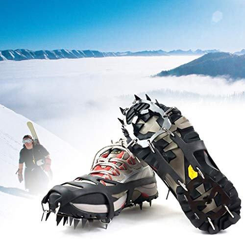 1 Pair 18 Teeth Ice Traction Cleats Snow Grips Anti-Slip Ice Snow Grips Shoe Boot Traction Cleat Spikes Crampon - Black M